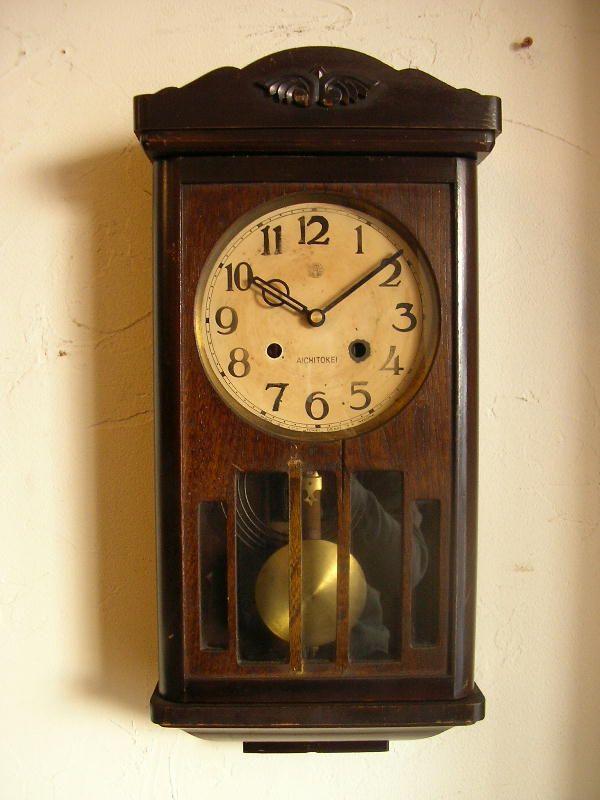 アンティーク・クロック,アンティーク・掛け時計,アンティーク・振り子 ... 画像1: 大正頃のアイチ時計・木製・振り子時計(クォーツ改造