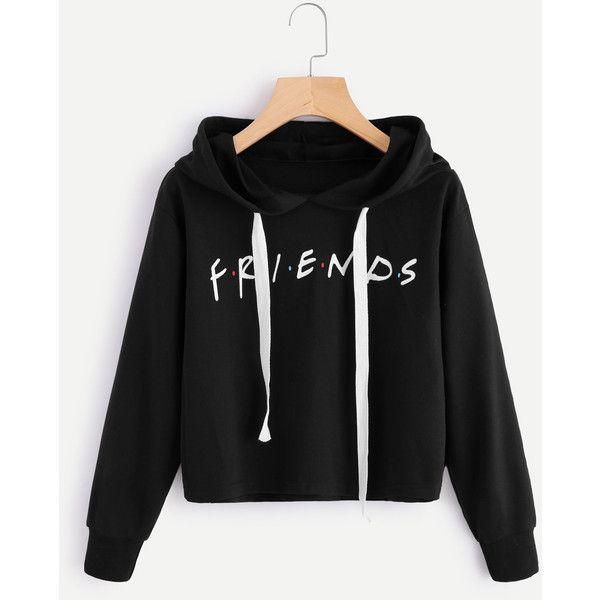 SheIn(sheinside) Friends Print Drop Shoulder Raw Hem Hoodie (£9.69) ❤ liked on Polyvore featuring tops, hoodies, black, graphic hoodies, long sleeve hooded sweatshirt, patterned hoody, graphic hoodie and long sleeve tops