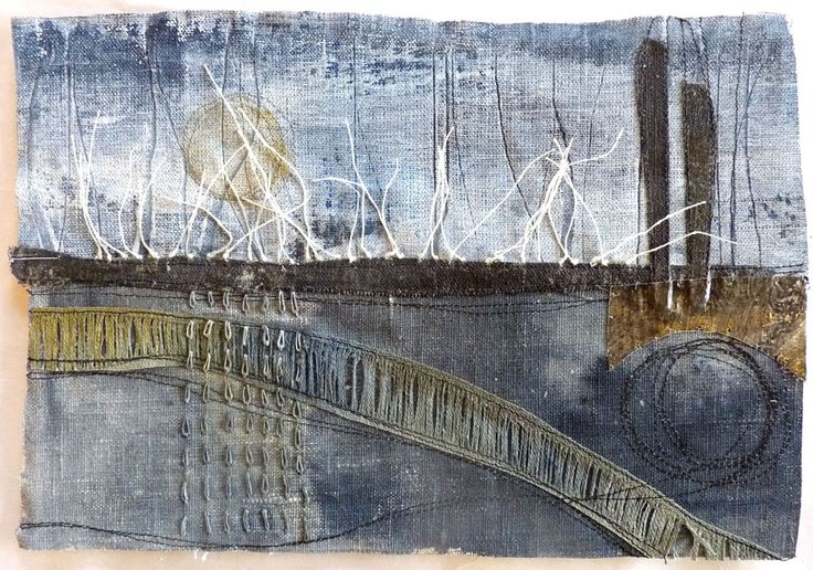 Marshscape Collage #12, Linen, wax, metal, linen thread