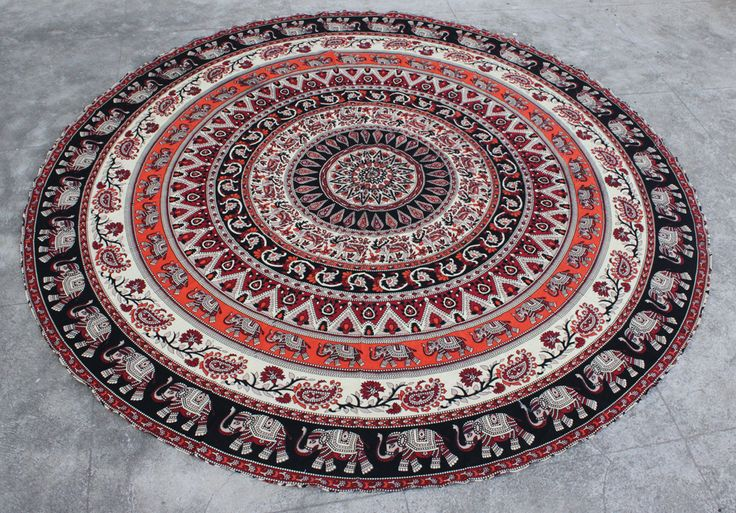 Orange Black Elephant Roundie Mandala Beach Throw
