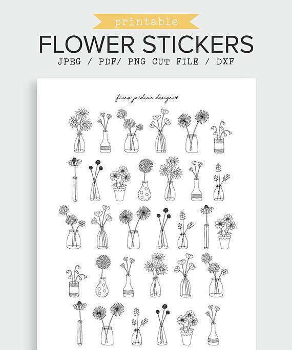 bullet journal stickers  Flower and Vase Printable Bullet Journal Stickers, Black And White ...