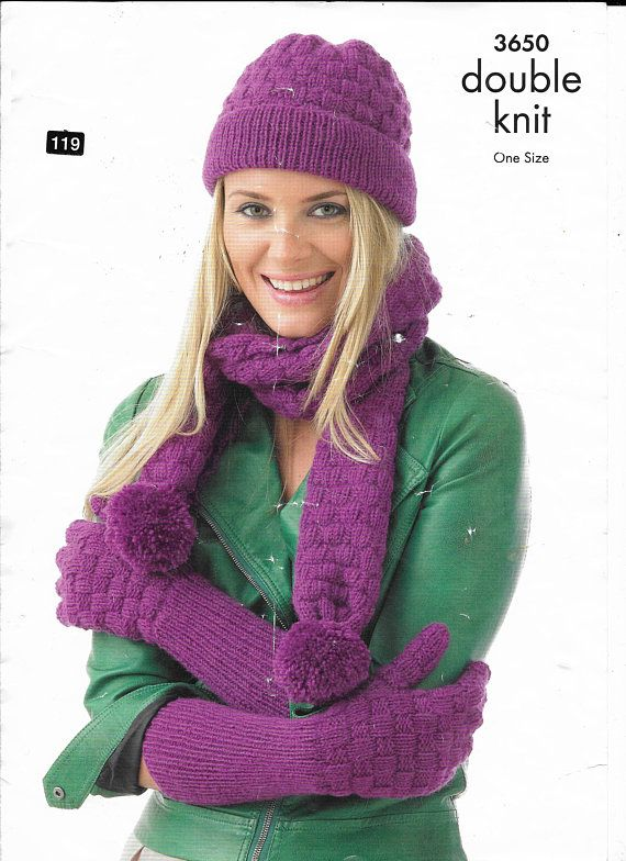 faffec47af1 PDF knitting pattern lady s woman s hats scarves and gloves different  styles patterns for women DK yarn