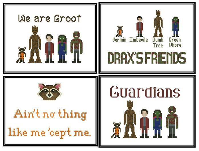Four Guardians of the Galaxy Cross Stitch Pattern Downloads by IStitchForTheUsers on Etsy https://www.etsy.com/listing/199736714/four-guardians-of-the-galaxy-cross
