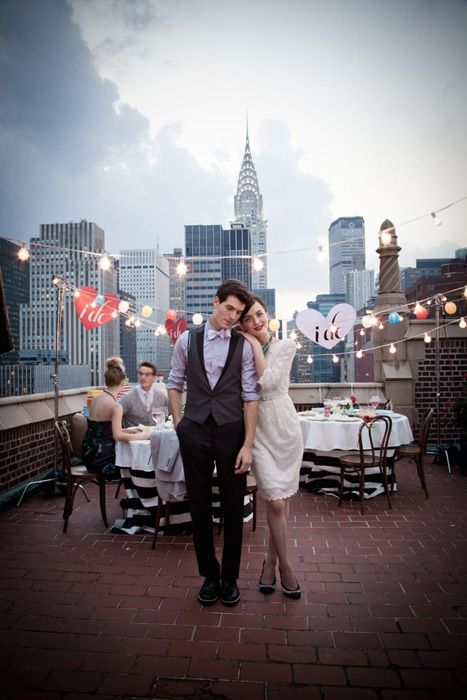 Intimate rooftop wedding Photo Source: macy's #rooftopweddings #uniqueweddingvenues: