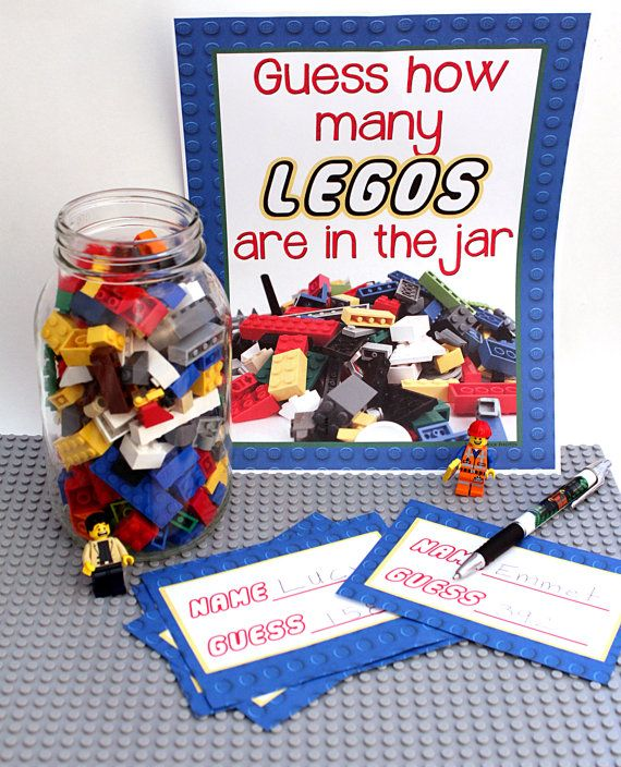 LEGO Birthday Party Game Idea Printable Guess How Many LEGOs Are In The Jar