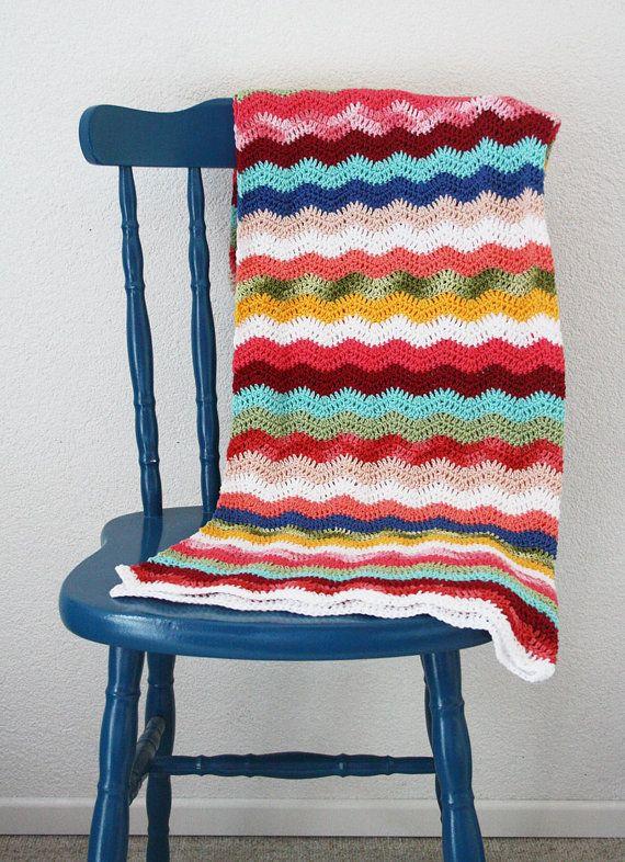 Crochet baby blanket ripple: pink, aqua, red, green, yellow