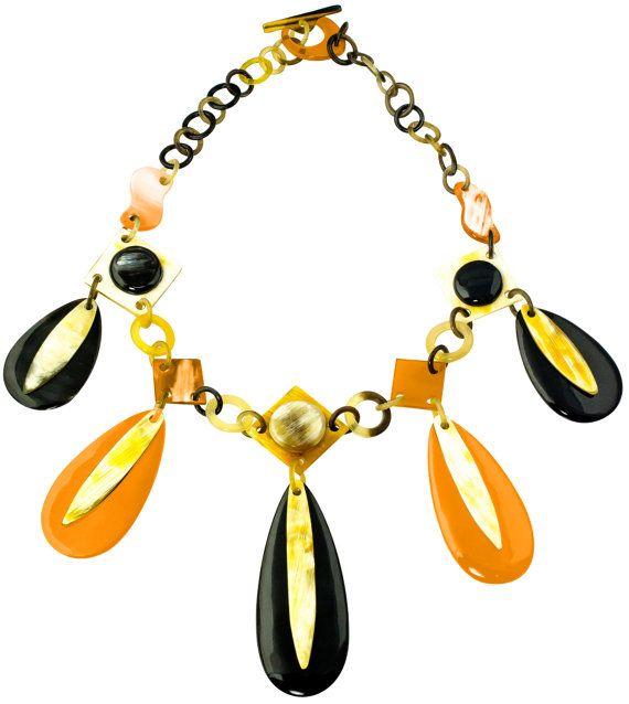 Phoenix orange lacquer link chain horn collar necklace