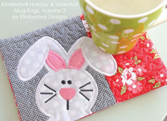 Sweet bunny mug rug! #kimberbelldesigns #machineembroidery