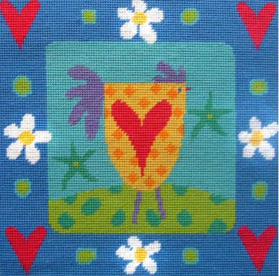 Chicken and Hearts Tapestry Kit - Stitching Shed
