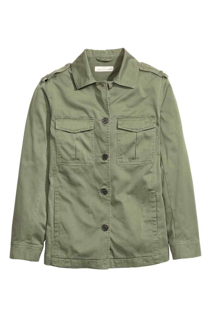 Cargo jacket: Cargo jacket in soft, washed cotton twill with shoulder tabs, buttons down the front, flap chest pockets with a concealed fastener, side pockets and fasteners at the cuffs. Unlined.