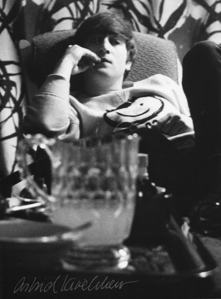 At John & Cynthia's flat in London during the filming of 'A Hard Day's Night', 1964. Photo by Astrid Kirchherr.