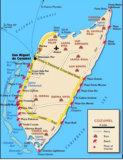 Map of Cozumel with beach clubs, cruise ports.