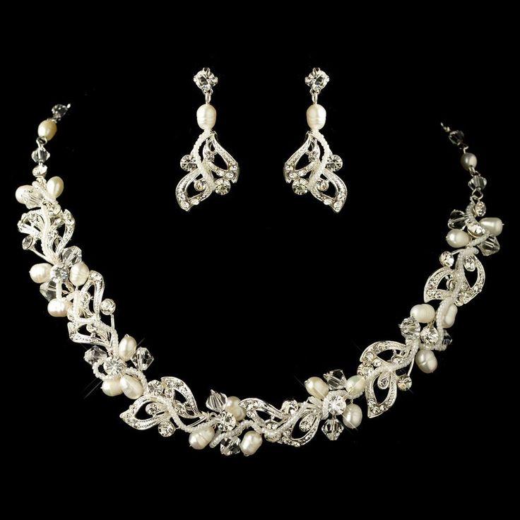 So pretty! Freshwater Pearl and Crystal Leaf Wedding Jewelry Set - Affordable Elegance Bridal -