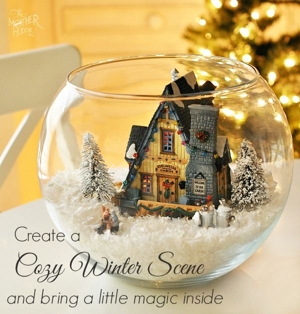 Create a Winter Scene With Lighted House - it's like a big snow globe.