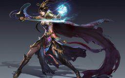 art background girl magician magic coat sword fantasy