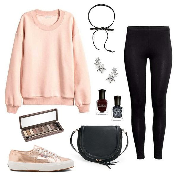 Keep cozy in an oversize sweatshirt and sleek black leggings and let the accessories be the shining star of your outfit!