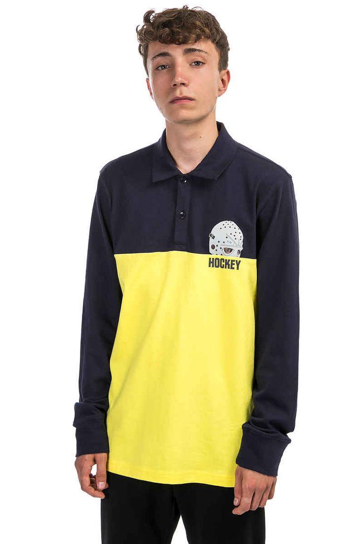 HOCKEY Mask Polo Longsleeve (navy yellow)   #skatedeluxe #sk8dlx #skateboarding #fuckingawesome