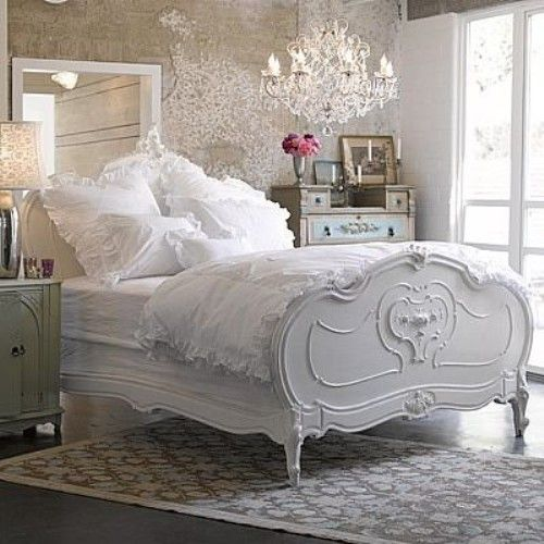 GORGEOUS bed, bedding and chandelier!  ♥♥♥