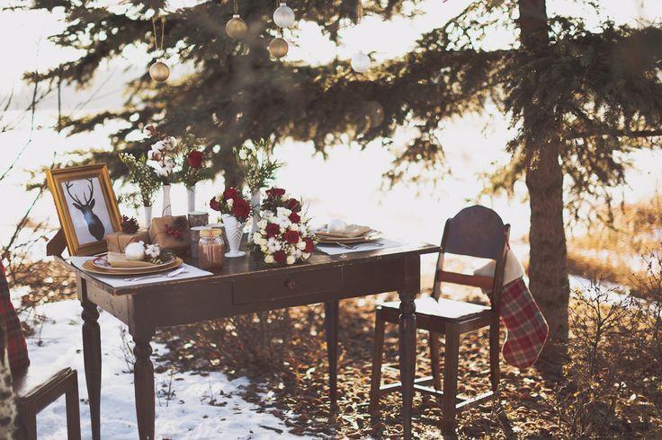 Red and white Christmas Engagement Inspiration in Fish Creek Park!  www.flowersbyjanie.com Photo: @nicolesarahcom   #Fishcreekparkwedding #Calgaryweddingflorist #winterweddinginspiration #redbridalbouquet