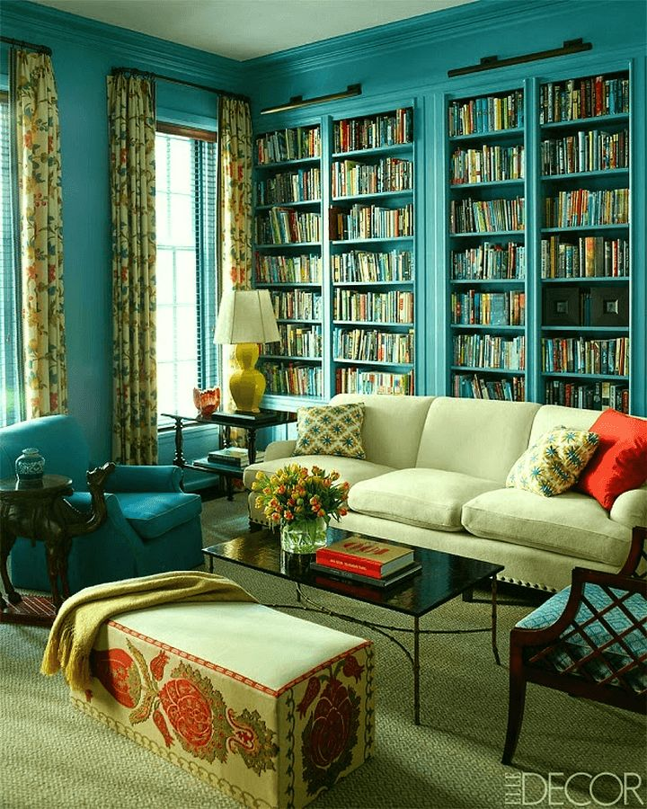 Fabulous colorful library by Katie Ridder