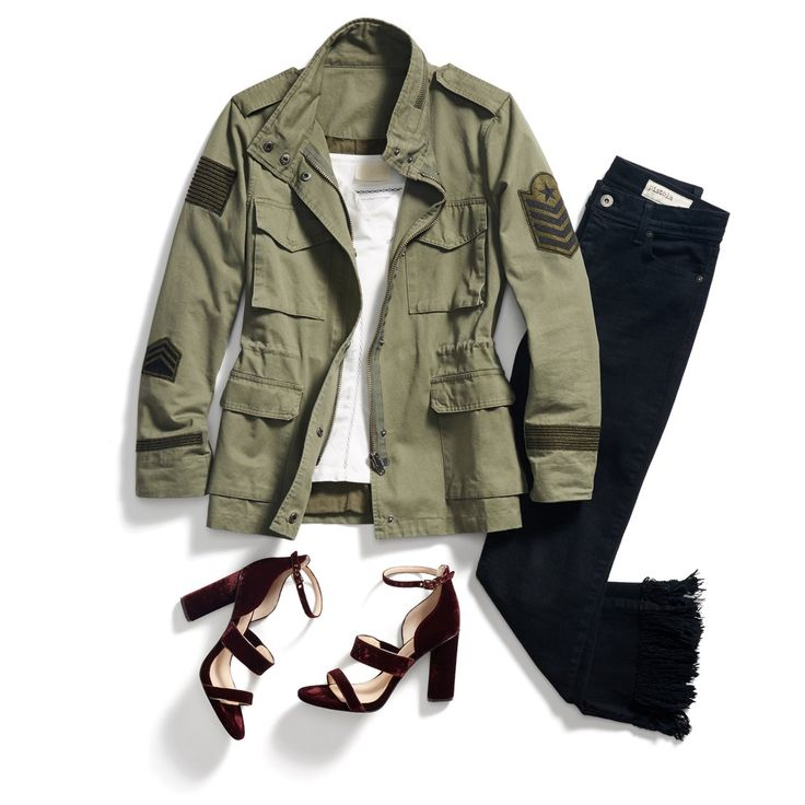 Up your utility jacket's flirt factor by adding strappy heels & a frilly cami. #StylistTip