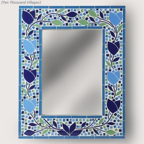 Blue Blossom Mosaic Mirror