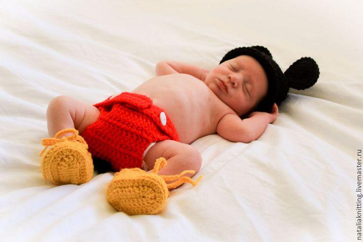 """Купить """"Микки Маус"""" для фотосессии - для фотосессии, Микки Маус, мышонок, костюм для мальчика, шапочка крючком"""