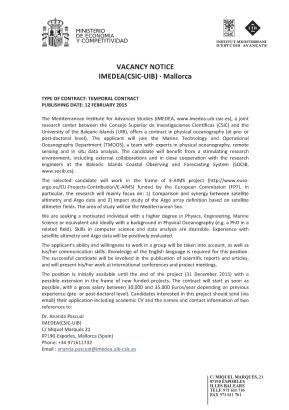 OFERTA DE TRABAJO IMEDEA / JOB VACANCY IMEDEA / OFERTA DE FEINA IMEDEA