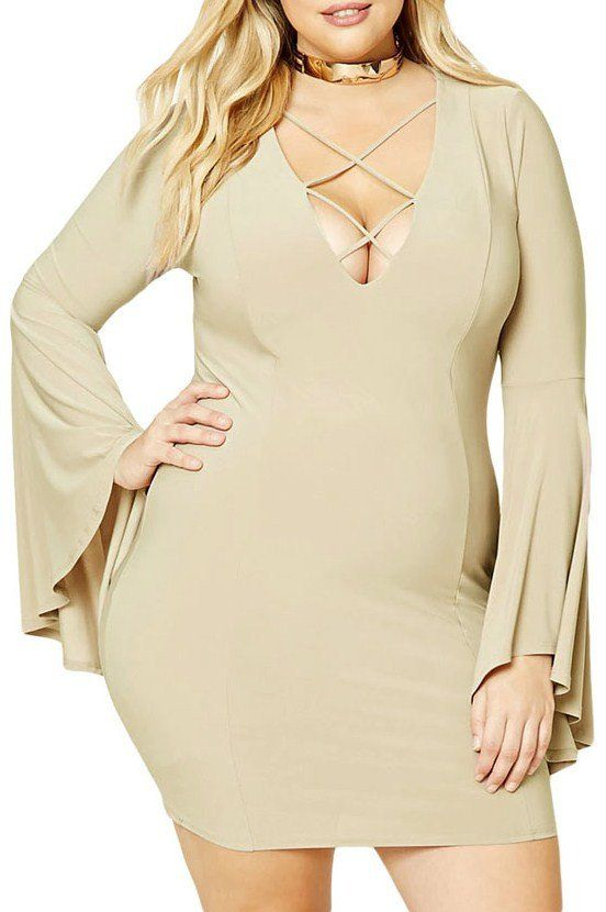 Robes Mini Grandes Tailles Beige Manches Flare Avec Cage