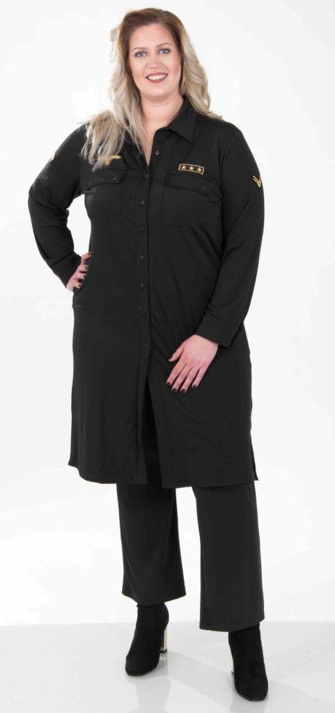 Gets fashion, lange zwarte blouse, navy, voorjaar 2017, grote maten mode