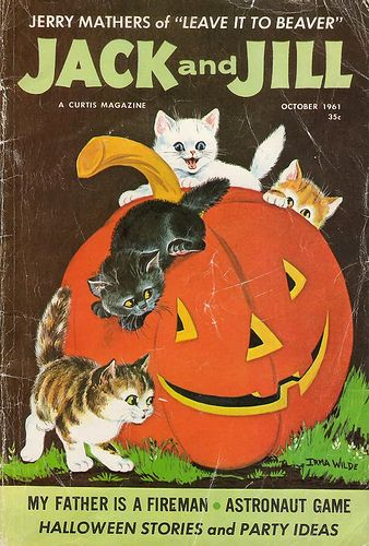 Vintage Jack and Jill magazine - Halloween cover with jack o' lantern and black cat.