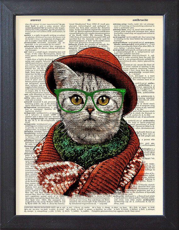 Chat drôle qu'imprimé fantaisie chat porte un par Natalprint