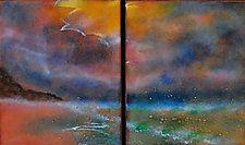 """Beach Duet by Cynthia Miller (Art Glass Wall Sculpture) (12"""" x 22"""")"""