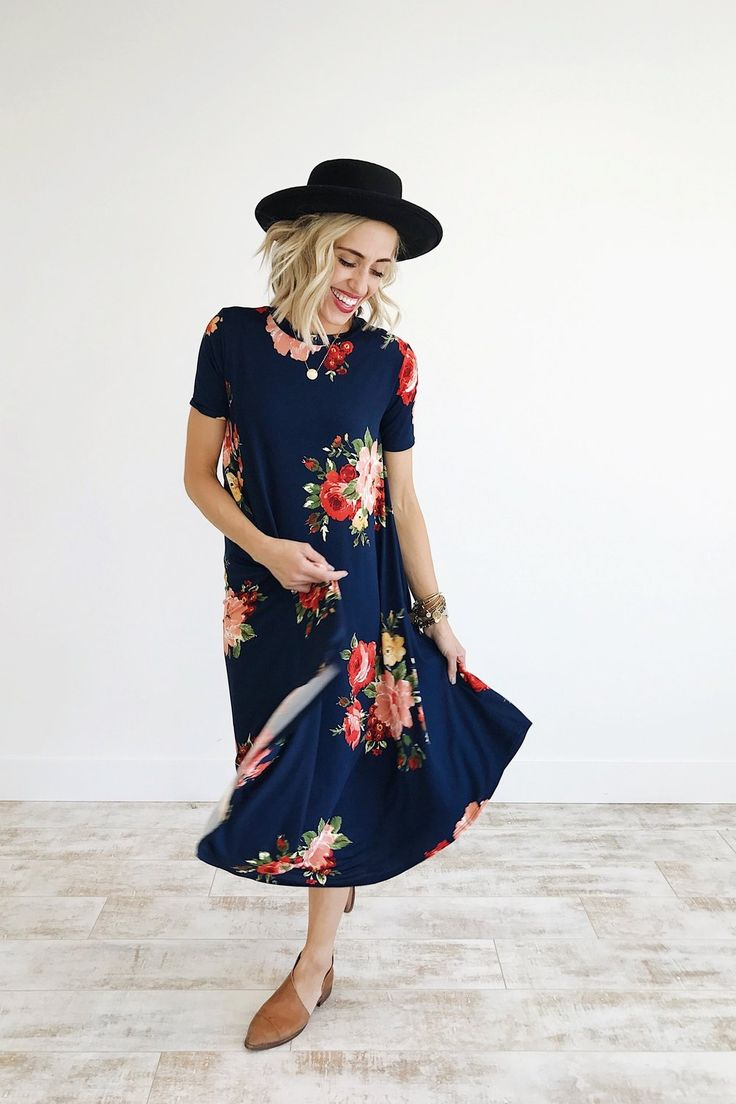 Navy Midi Dress with Floral Print | ROOLEE