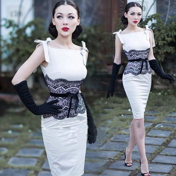White Patchwork Lace Square Neck Fashion Polyester Midi Dress