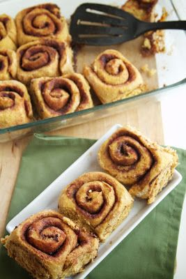 Pumpkin Cinnamon Rolls. Pumpkin AND cinnamon rolls? This might turn out to be my favorite thing EVER. [Except that Will's allergic to cinnamon, I need low-carb, and Tom needs heart-healthy ... but otherwise this is my new favorite recipe. ;) ]