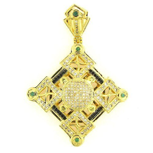 Men's & Women's Iced Out Hip Hop 14K Gold Plated Crystal Micro Pave Premium Diamond Charm Pendant Creamjewelrybest. $89.99. 2 in. in width by 3 in. in length. Micro Pave setting. 14K Gold plated. 90 days Warranty. Rhinestone setting
