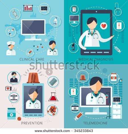 adorable telemedicine concept collection in flat style