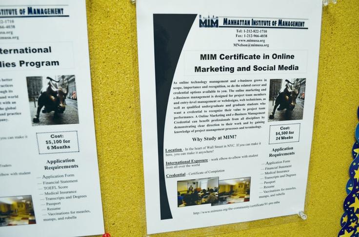 学校の掲示板はとても整理されていて、必要な情報がすぐに見つかりそうです。MIMの詳しい情報はこちらから! http://www.ilisny.com/mim