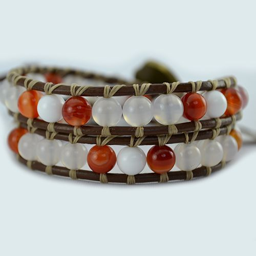 Our Nurture wrap bracelet has been designed with White and Red Agate Gemstones. Created combining two poweful stones, long used as amulets, for their protective natural properties. Rebalancing and harmonising body, mind and spirit. Eliminating and transforming negativity into balanced and positive energy.  On brown genuine leather (or vegan alternative*), finished with a unique bronze button clasp. Can be purchased in two optional sizes for men or…