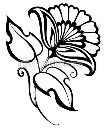 beautiful black and white flower,retro style, carnation
