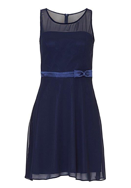 Schlichtes kurzes Kleid für Brautjungfern: Dunkelblaues, kurzes Chiffonkleid von Vera Mont mit Gürtel aus Satin