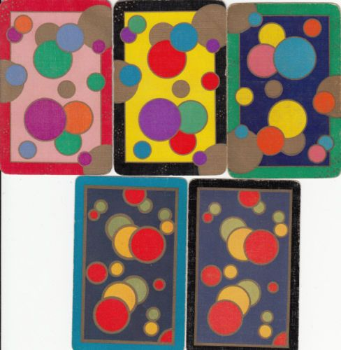 Vintage Playing Swap Cards 5 Single Geo Deco Design Bubbles | eBay