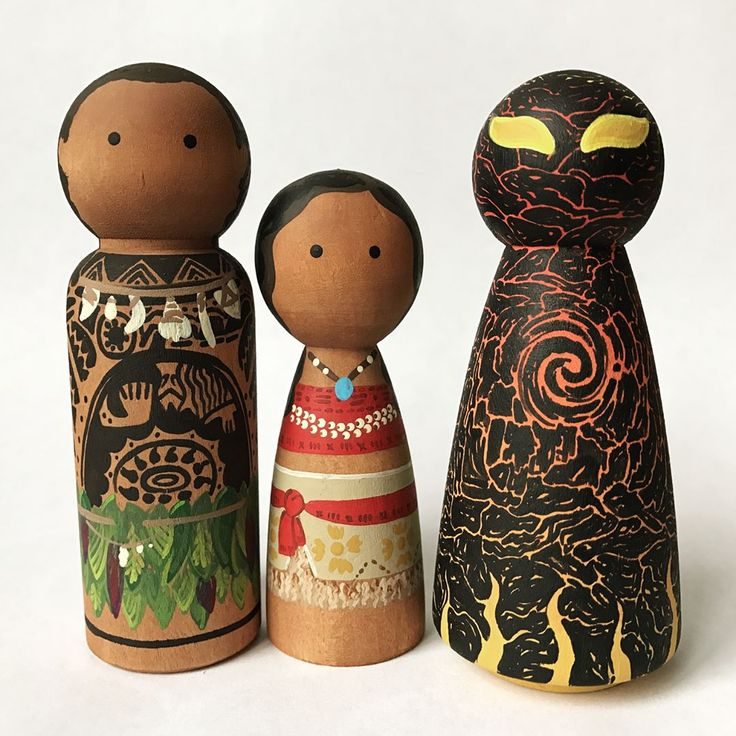 Peg People by thepaintedpeg New favorites. I may have made girly squealing noises last night when I finished them. Make sure you swipe over to check out the other photos to see Te Kā's transformation.) This set and a few more are up for grabs. $45. I'll only be painting a limited number of these (because...well, those tattoos. And um...lava monster details) so if you'd like a set, DM or email me with your PayPal address and I'll get them to you!  #thepaintedpeg #pegdolls #pegpeople #moana…