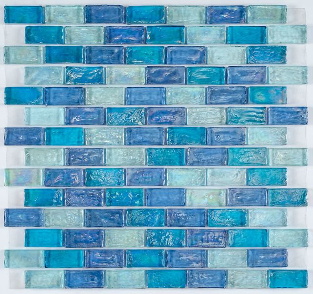 Iridescent Glass Mosaic Tile Pale Blue Blend is face mounted on a 12 inches by 12 inches clear tape sheet for an easy installation. 10 Best ideas about Blue Bathroom Tiles on Pinterest   Blue tiles