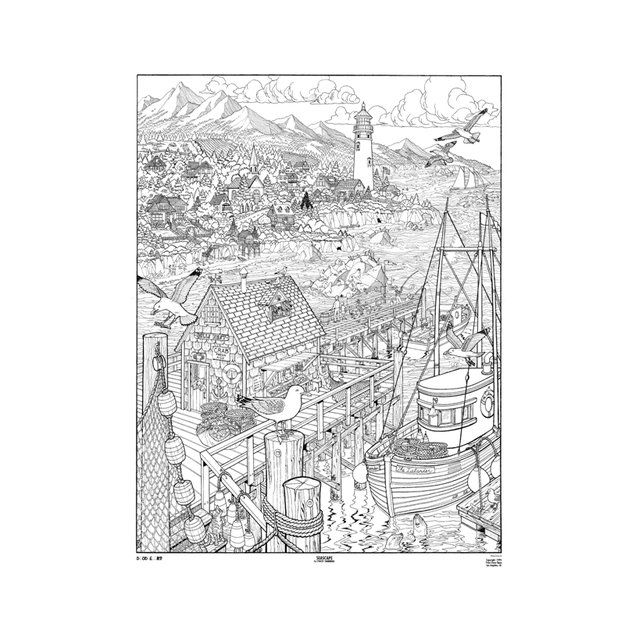Doodle Art Seascape Coloring Page Poster BW