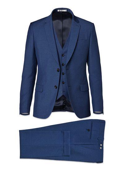 Costume laine, mohair et soie bleu saphir - micro armuré 17EC3FOBG-F502/35  - Costume Homme