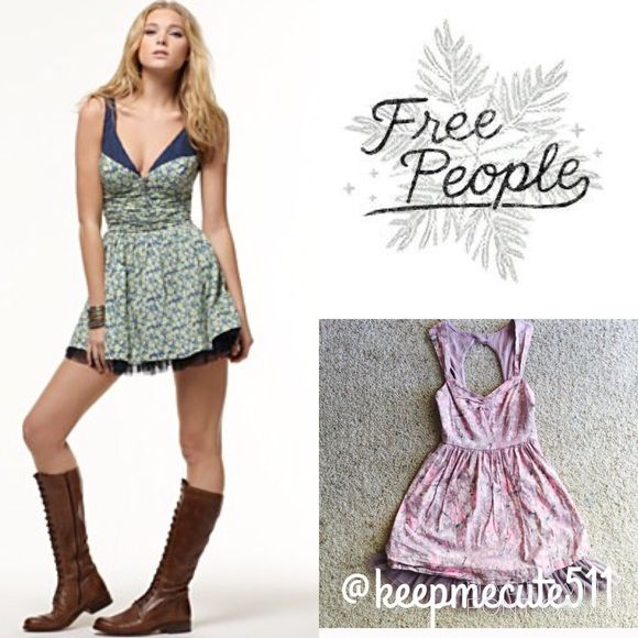 Free People Floral Tuelle Dress size 12 Beautiful Boho Chic!  This absolutely gorgeous Free People Dress is taupe in color, but resonates a charming lavender tone!  It is embellished with pink flowers throughout, a ruched bodice and finished with a charming Tuelle!  Size 12, Brand New with tags!  Only reasonable offers please!  Free People Dresses