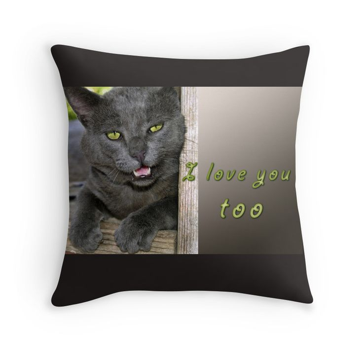 """I love you, too"" slogan printed on a pillow, an a T-shirt, on a mug, ... Order yours"
