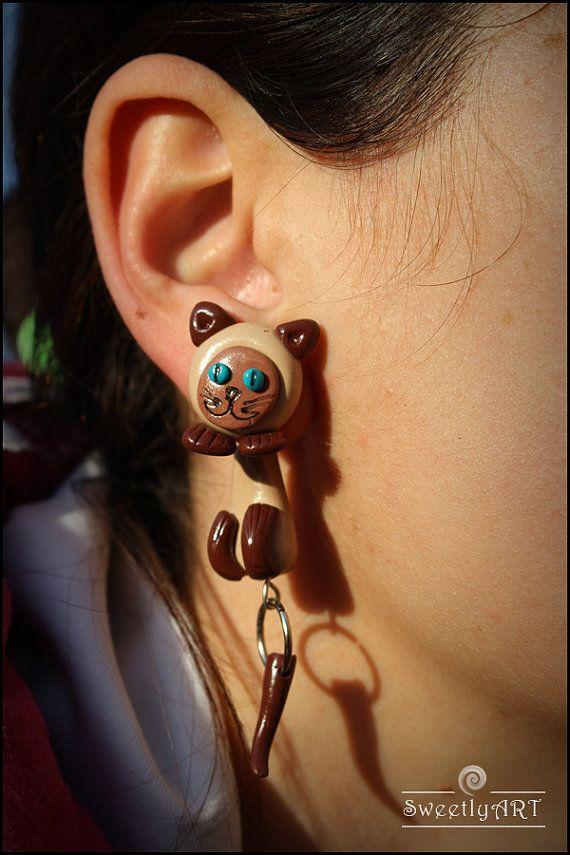 Two Part Earrings Cat Blue
